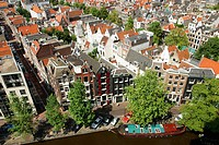 Aerial view. Prinsengracht foreground. Amsterdam. Holland