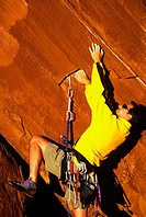 Rock climbing near Moab, Utah, USA