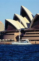 Catamaran in front of Opera House. Sydney. Australia