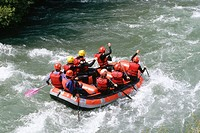 Rafting at Pyrenees Mountains. Lleida province. Spain