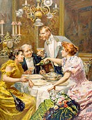An Elegant Dinner  19th century illustration