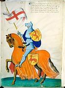 Pale Blue Knight and Orange Horse: Capodilista Codex Manuscript Illumination Biblioteca Civica, Padua