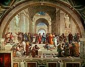 The School of Athens 1509-11 Raphael (1483-1520 Italian) Fresco Stanza della Segnatura, Palazzi Pontifici, Vatican City