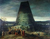 Tower of Babel P. Brueghel The Younger and J. de Momper The Younger (Flemish). Oil on wood panel David David Gallery, Philadelphia