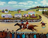 The Horse Races 1990 Konstantin Rodko (1908-1995/Russian). Oil on canvas Super Stock Inc. Collection