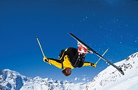 10644422, action, Alps, mountains, Freeride, Freeriding, man, somersault, ski, skiing, sport, jump, winter, winter sports, spo