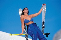 10644429, alpine, Alps, Apres ski, mountains, bra, browning, Carvingski, woman, snow, ski, ski suit, skiing, sun, solar bath,