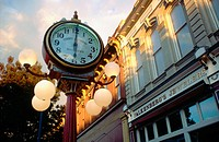 Falkenberg's clock in downtown Walla Walla at sunset. Washington. USA