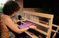 Woman weaving with tradicional methods. Candelario. Salamanca province. Castilla y Le&#243;n. Espa&#241;a