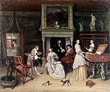 Fantasy Interior with The Family of Jan van Goyen ca. 1661-63 Jan Steen (1626-1679 Dutch). Oil on canvas Nelson- Atkins Museum of Art, Kansas City, M ...