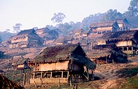 Traditional akha village. Near Luang NamTha. North Laos