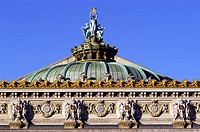 Detail of the rooftop from the Opera by Charles Garnier. Paris. France