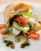 Baguette Sandwich with Vegetables, Avocadoes and Mozzarella