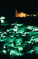 Night view of Casares in Malaga province. Andalusia. Spain