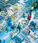 Crowded grocery store aisle
