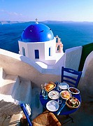 Greece, Cyclades, Santorini Church. on the Caldeira at Oia, Greek food, Greek salad & Mezzes