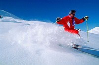 Skiing at Val Thorens. Savoie, Alps. France