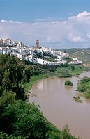 Montoro skyline and Guadalquivir River. Cordoba province. Andalucia. Spain