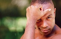 Black man without shirt - portrait