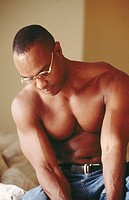 Muscular black man without shirt