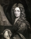 Sir Christopher Wren (1632-1723). English architect scientist and mathematician. From the book 'Gallery of Portraits' published London 1833