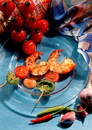 Two Shrimp Skewers with Tomato and Pepper