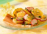 Smoked trout fillets with potato and radish salad
