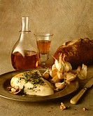 Warm soft cheese with garlic and sherry