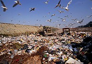 ´Waste disposal in a landfill. Landfill sites are used as adepository for 90% of the world´s domestic waste materials. The type of material in the lan...