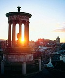 Dugald Stewart Monument at sunset, Calton Hill, Edinburgh, Scotland
