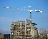 Construction crane and office block under construction (thumbnail)