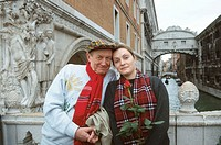 Evgenij Evtusenko, Russian poet, and his wife. Venice. 1995
