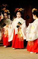 Girls in traditional dress. Kyoto. Japan