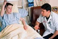 WOMAN HOSPITAL PATIENT W. DOCTOR<BR>Photo essay. Patient and doctor.<BR>Beaujon Hospital, in Clichy, near Paris, France.