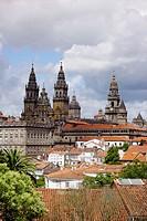 View of the Cathedral from Paseo de la Herradura. Santiago de Compostela. La Coruña province, Spain