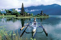 Lake Bratan Temple and outrigger. Bali Island. Indonesia