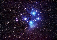 Pleiades star cluster (M45, NGC 1432). North is at top. This cluster is about 30 light years wide, and lies 400 light years away in the constellation ...