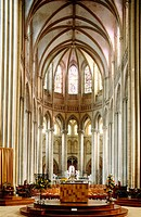 Gothic cathedral nave. Coutances. Manche. Normandy. France