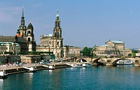 Elbe River, Hofkirche Cathedral and Semper Opera. Dresden. Saxony. Germany