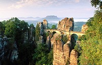 Bastei Bridge over Elbe River in Sachsische Schweiz National Park. Saxony. Germany