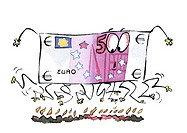 Euro bill walking on fire