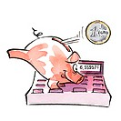 Piggy bank on calculator and euro coin