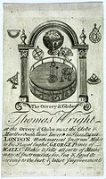 Engraving with lettering below, showing an orrery and globe surrounded by an ornamental arch and various mathematical instruments. Thomas Wright (d 17...