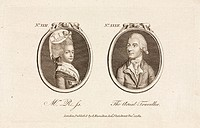 Engraving showing two portraits published by A Hamilton, London, 1 December 1784. Vincent (or Vincenzo) Lunardi (1759-1806), Italian secretary to the ...