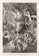 Engraving. There has been a long tradition of people believing that life exists elsewhere in the universe. This engraving shows a somewhat fanciful re...
