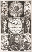 ´Title page from 'Natural magick' by Giambattista della Porta, (1535?-1615), published in 1658. At the four corners are representations of the element...