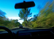 View from inside of car in motion