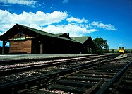 USA, rural train station and tracks