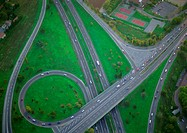 Birdseye view of highways and overpass