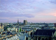 France, Paris, rooftop view of at sunset